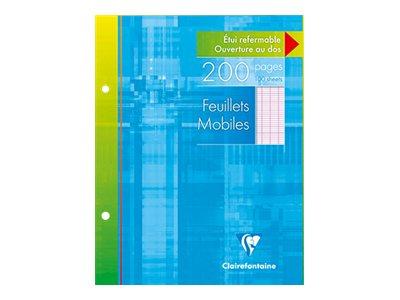 Clairefontaine - 200 Feuillets mobiles - 17 x 22 cm - blanc - Seyès - Grands carreaux