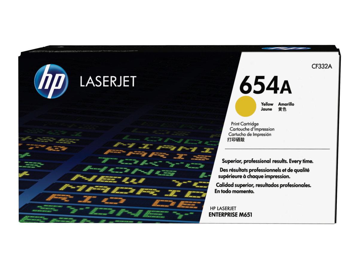 HP 654A - jaune - originale - LaserJet - cartouche de toner (CF332A)