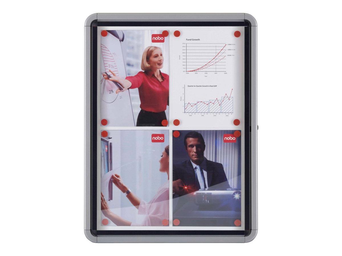 Nobo - Vitrine d'intérieur- 9 x A4 - métal - magnétique - extérieur - blanc