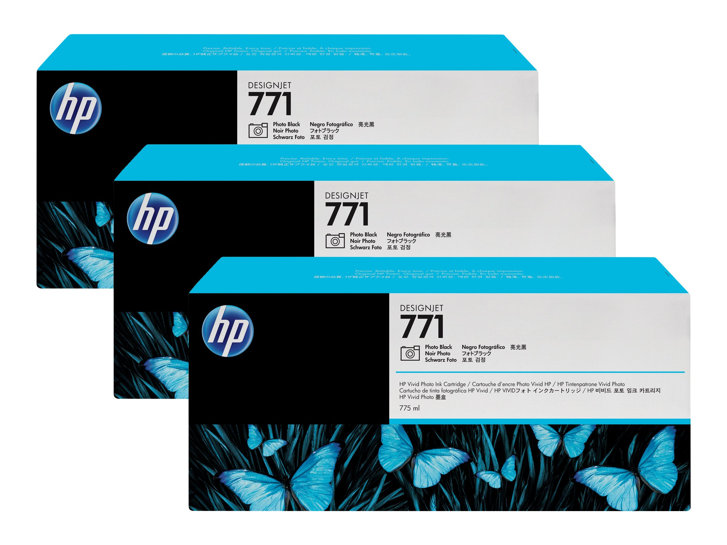 HP 771 - pack de 3 - photo noire - originale - cartouche d'encre