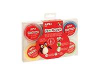 APLI kids Fun Dough - Pâte à modeler - 14 g - noir, blanc, bleu, jaune, rouge, vert (pack de 6)