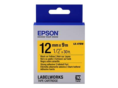 Epson LabelWorks LK-4YBW - Černá na žluté - Role (1,2 cm x 9 m) 1 role páska nálepek - pro LabelWorks LW-1000, LW-300, LW-400, LW-600, LW-700, LW-900, LW-K400, LW-Z700, LW-Z900