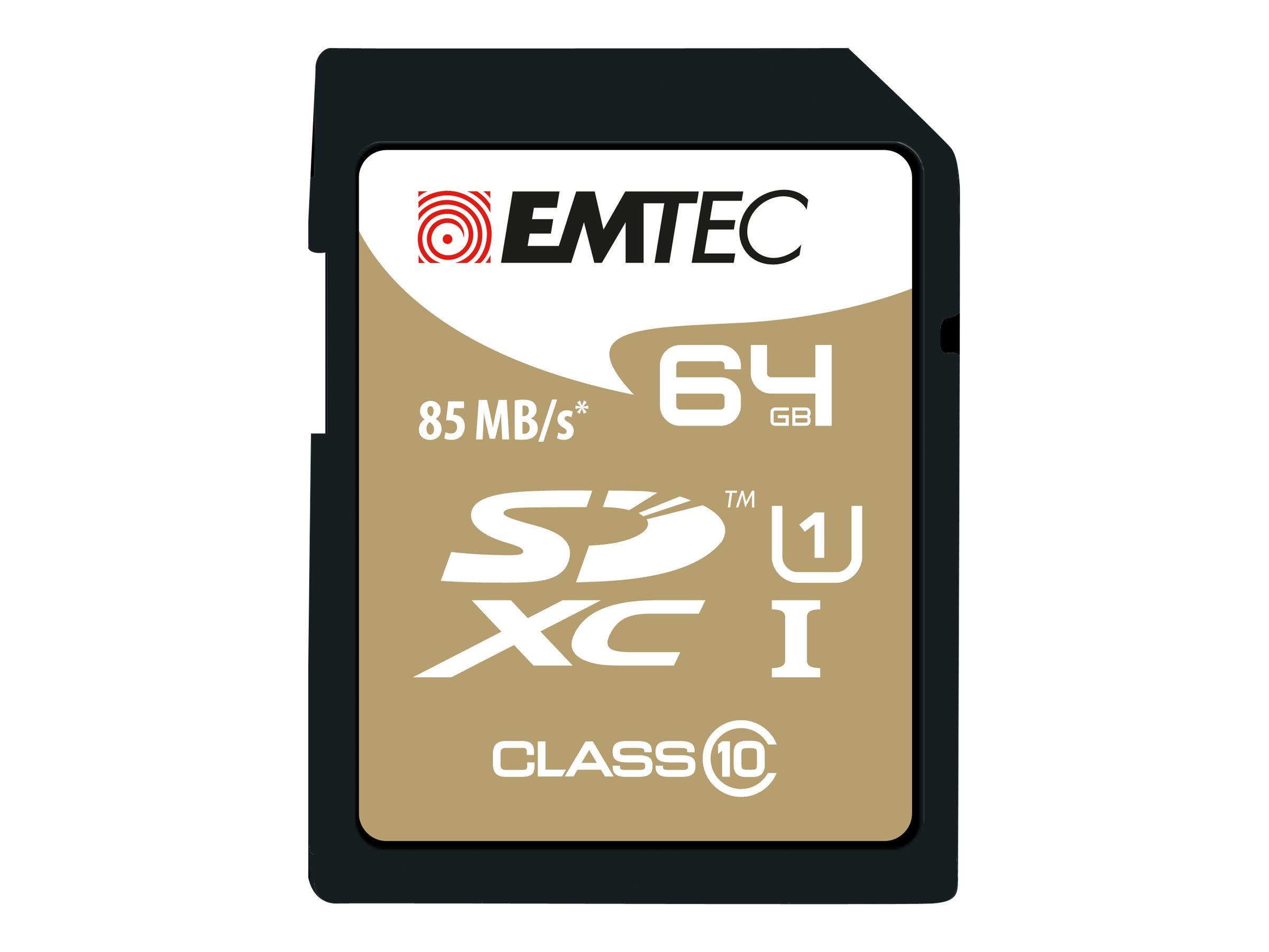 EMTEC Gold+ - carte mémoire flash - 64 Go - SDXC