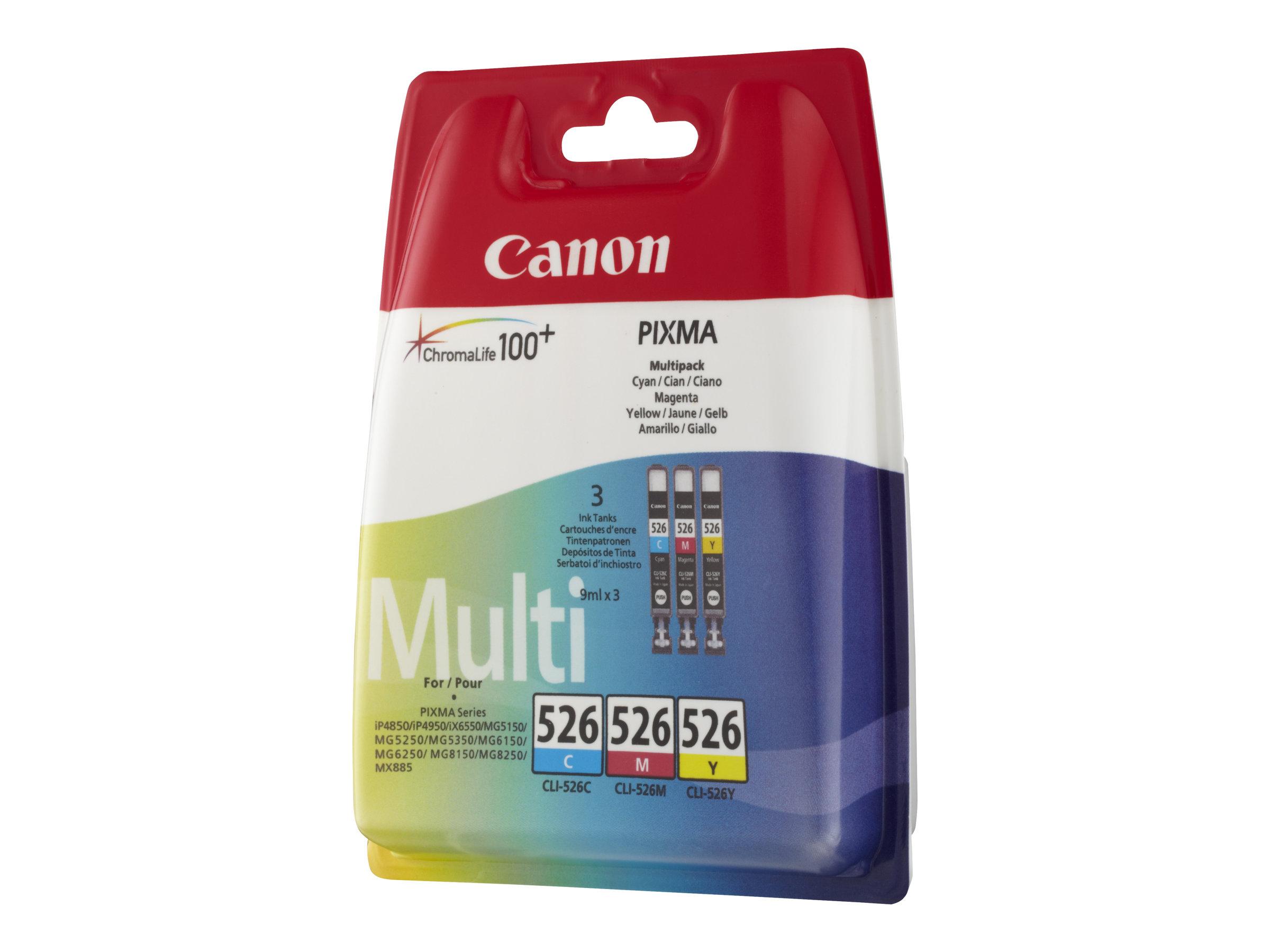Canon CLI-526 Multipack - pack de 3 - jaune, cyan, magenta - originale - réservoir d'encre