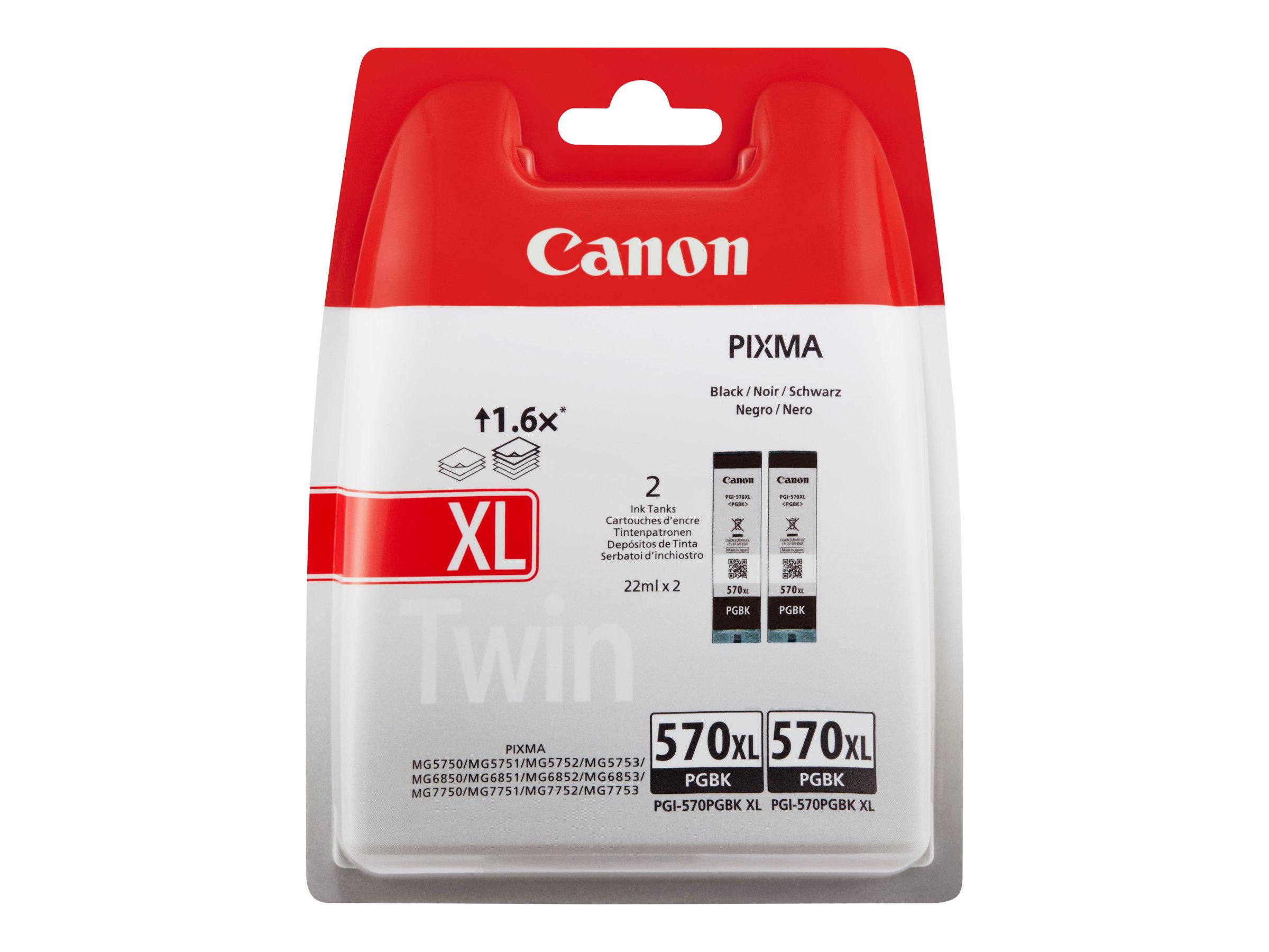 Canon PGI-570PGBK XL Twin Pack - pack de 2 - à rendement élevé - noir - originale - réservoir d'encre