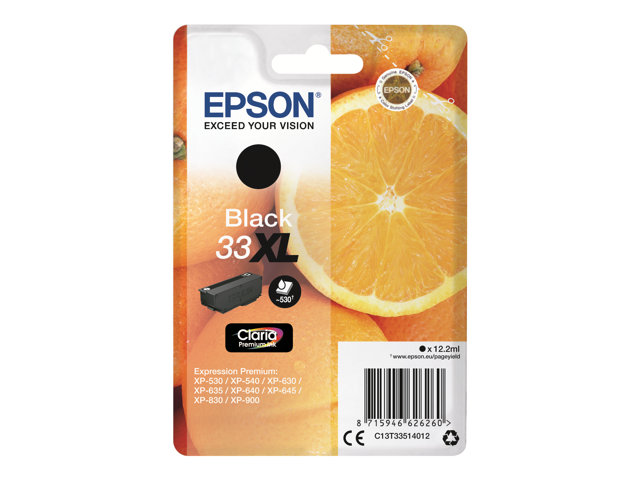 epson 33xl 12 2 ml xl noir originale blister cartouche d 39 encre pour expression. Black Bedroom Furniture Sets. Home Design Ideas