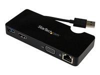 StarTech.com Replicador de Puertos USB 3.0 con HDMI o VGA, Ethernet Gigabit y USB Pass-Through - Docking Station para Portátil - Estación de conexión