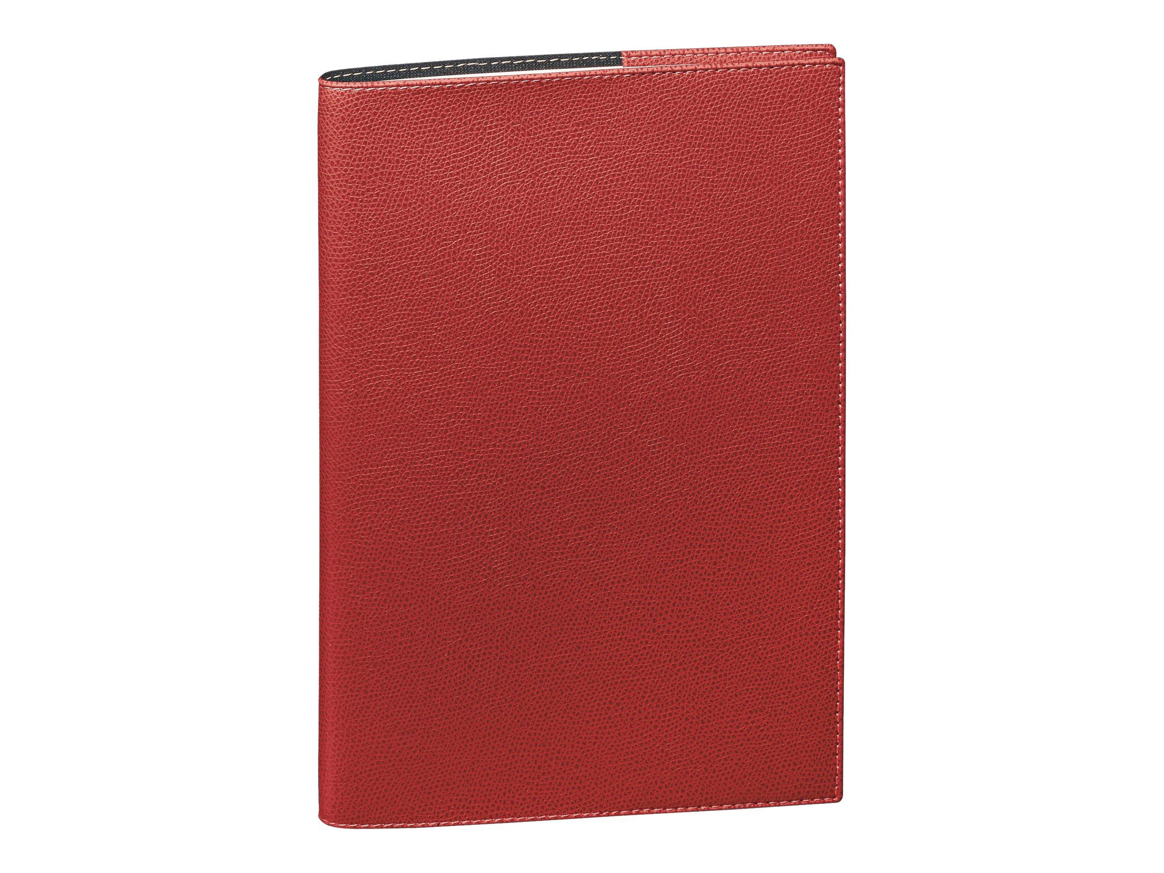 Quo Vadis Agenda Club - Agenda - 1 jour par page - 120 x 170 mm - papier blanc - couverture rouge cerise - toile