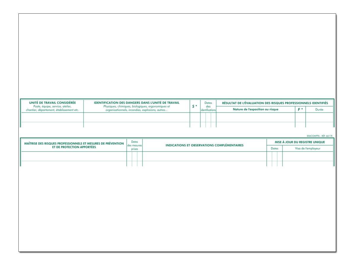 Exacompta - Registre - Evalution des risques - 60 pages - 320 x 240 mm - paysage