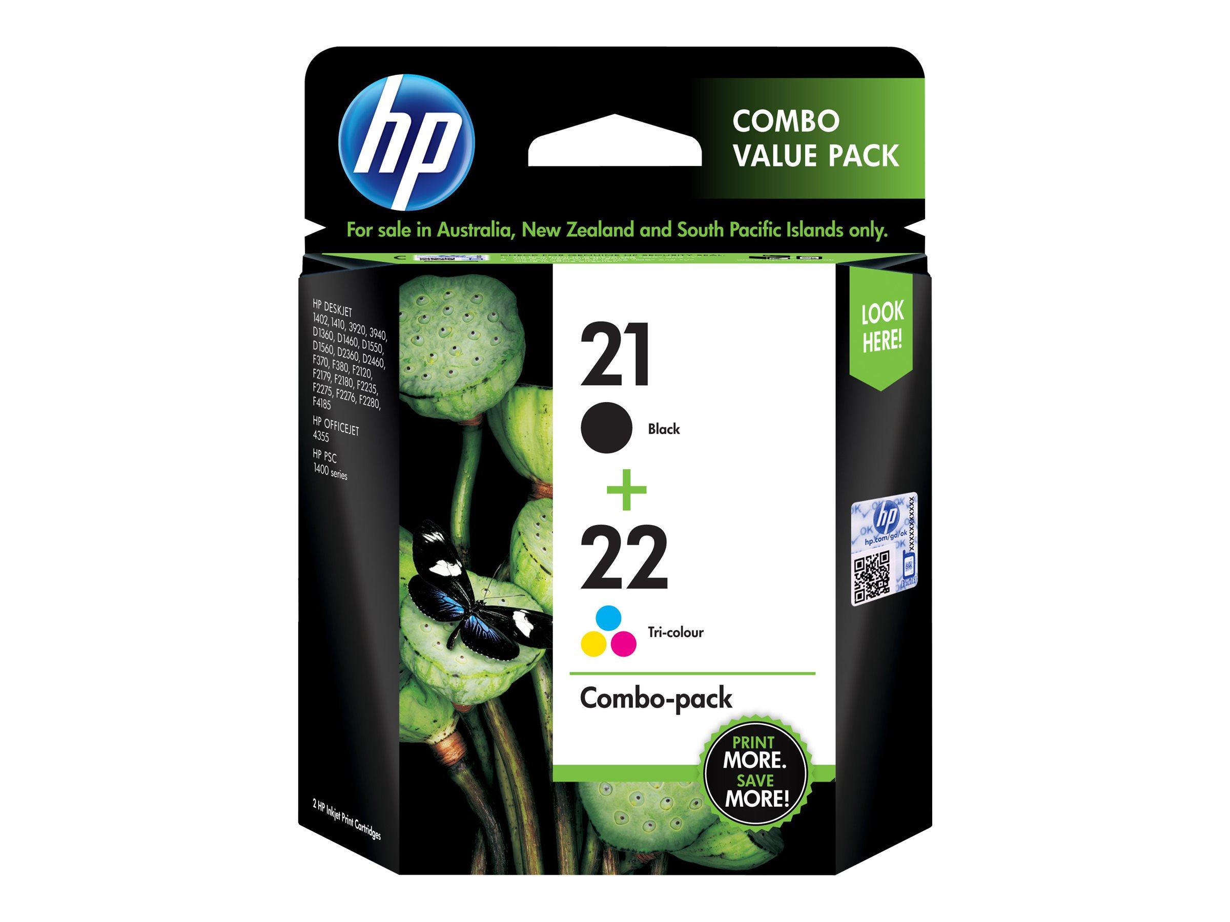 HP 21 22 COMBO PACK - PAQUETE DE 2 - NEGRO. COLOR