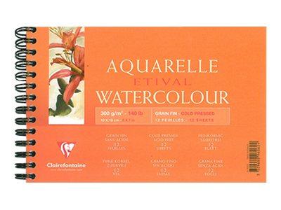 Clairefontaine ETIVAL Aquarelle Watercolour - Bloc à dessins - 120 x 180 mm - 12 feuilles