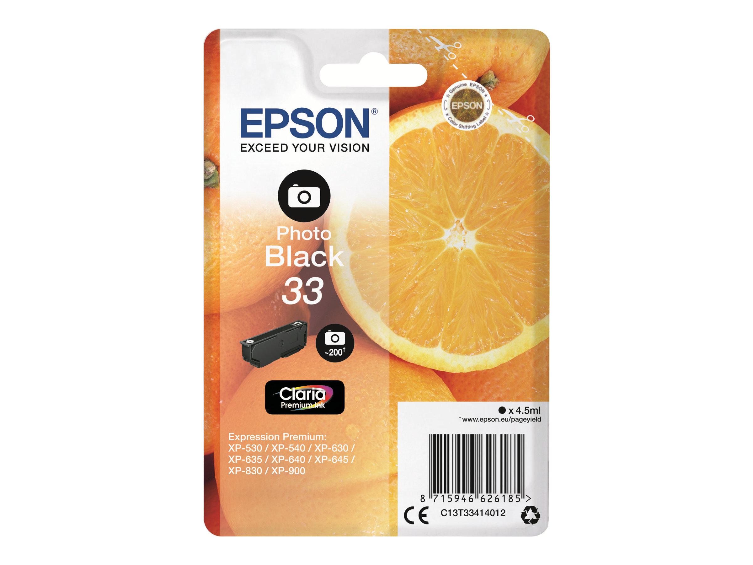 Epson T33 Orange - noire photo - originale - cartouche d'encre