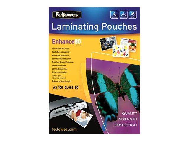 Fellowes - 100 pochettes de plastification - 80 microns - A3 (29,7 x 42 cm)