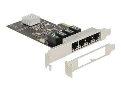DeLock PCI Express Card > 4 x Gigabit LAN - Síťový adaptér - PCIe x4 nízký profil - Gigabit Ethernet x 4