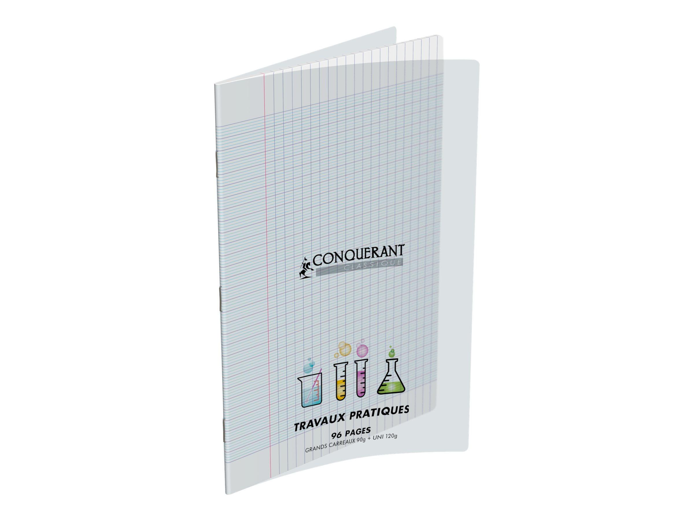 CONQUERANT Classique - Cahier polypro Travaux Pratique - A4 - 96 pages - uni, Grands carreaux