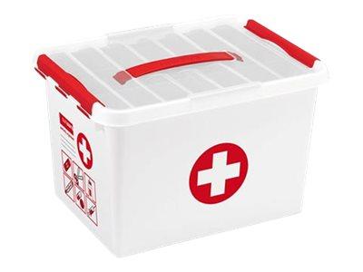 Sunware Q- line First Aid - Boîte de rangement pharmacie - 22 litres - blanc, rouge, transparent
