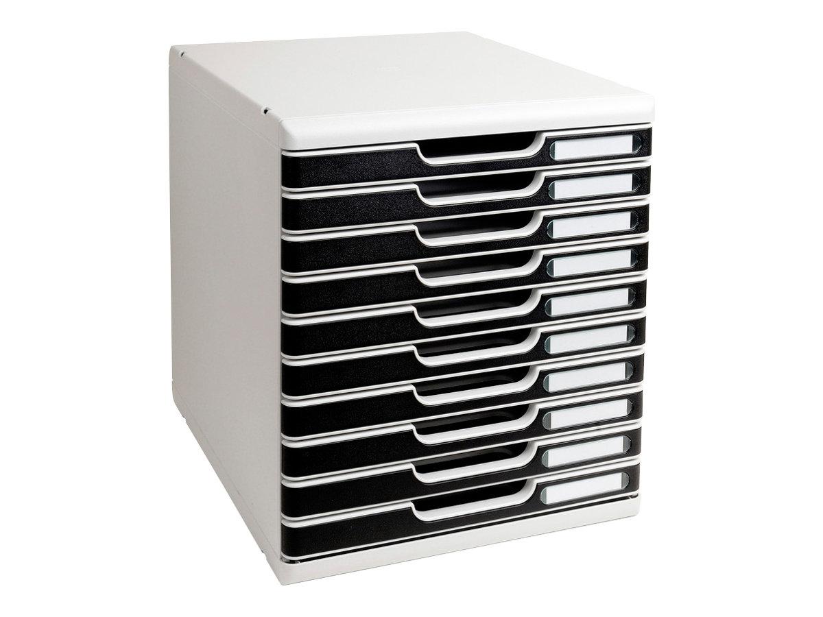 Exacompta MODULO Classic - Bloc de classement à tiroirs - 10 tiroirs - A4 Plus - noir