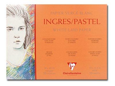Clairefontaine Fine Arts Ingres Pastel - Bloc à dessins - 30 x40 cm - 25 feuilles - blanc