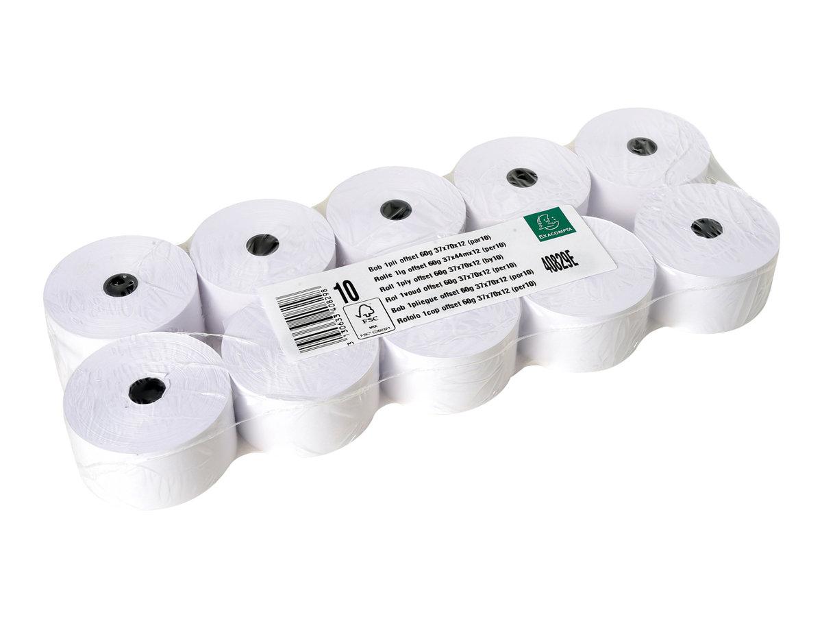 Exacompta - 10 Bobines papier thermique - blanc - Rouleau de 37 x 70 mm - 44 m