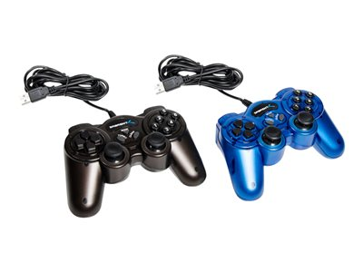 Sabrent - Gamepad - 12 buttons - wired - black, blue (pack of 2) - for PC