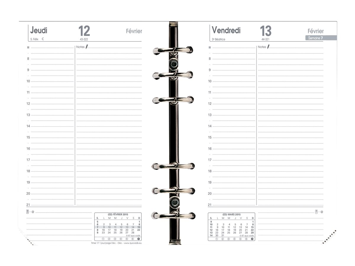 Quo Vadis Timer 17 Prestige - Recharge pour agenda - 2017 - 1 jour par page - 100 x 170 mm - ivoires