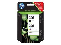 HP 301 - pack de 2 - noir, couleur (cyan, magenta, jaune) - original - cartouche d'encre