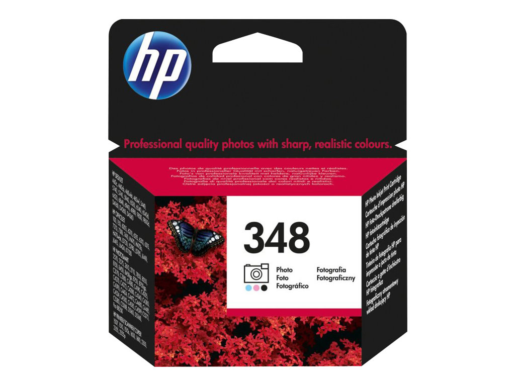 HP 348 - couleur (cyan clair, magenta clair, noir) - originale - cartouche d'impression (photo)