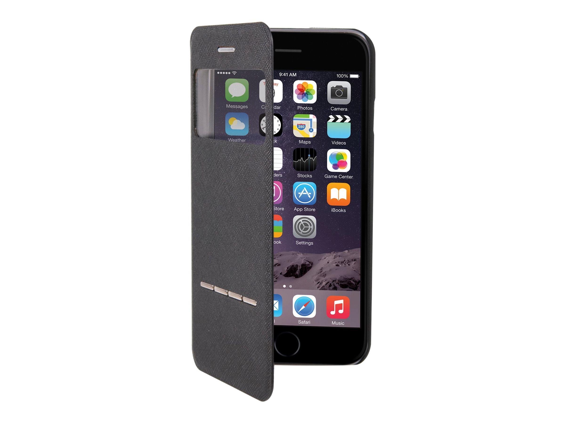 Muvit Answer Call Folio - Protection à rabat pour iPhone 6, 6s - noir