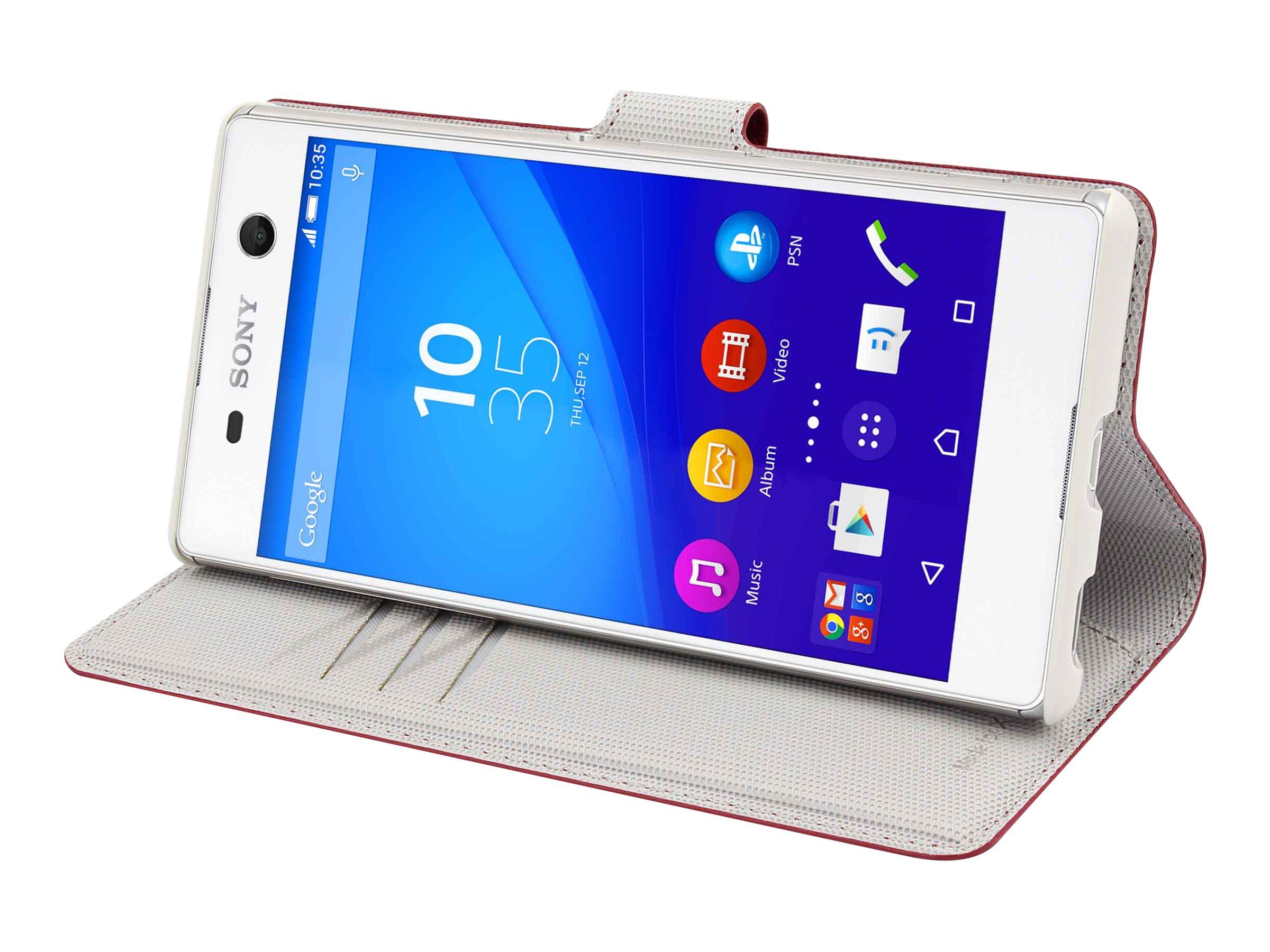 Muvit MFX Wallet Folio - Protection à rabat pour Sony XPERIA M5 - rouge