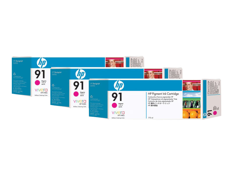 HP 91 3-ink Multipack - pack de 3 - magenta - originale - cartouche d'encre