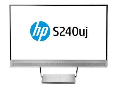 "HP EliteDisplay S240uj Wireless Charging Monitor - LED monitor - 23.8"" (23.8"" viewable) - 2560 x 1440 - IPS - 300 cd/m² - 1000:1 - 5 ms - HDMI, HDMI (MHL), DisplayPort, USB-C - speakers - silver"