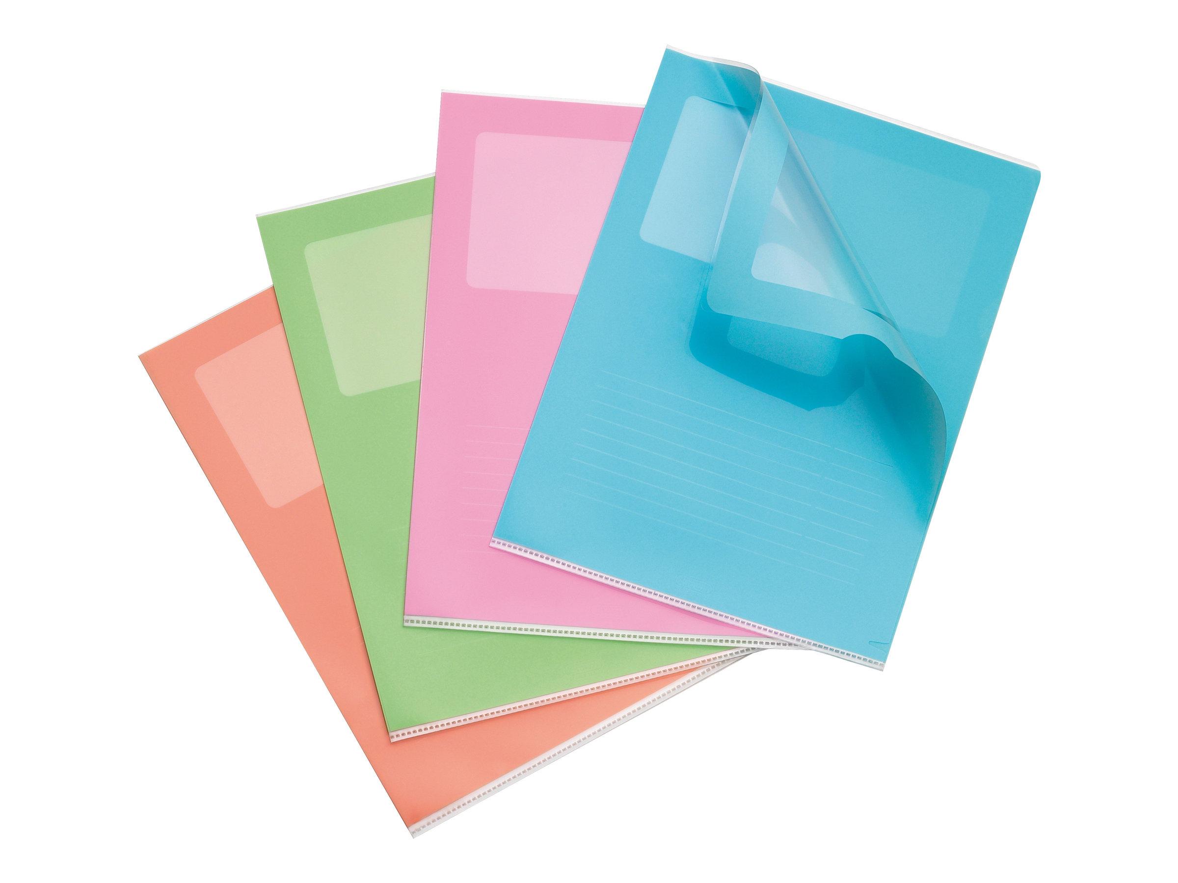 elba 10 pochettes coins a4 pour 50 feuilles rose vert p le bleu pastel abricot. Black Bedroom Furniture Sets. Home Design Ideas