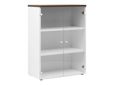 Gautier office YES - Armoire - Mi hauteur - 2 étagères - 2 portes vitrées ou blanc - disponible en différents coloris