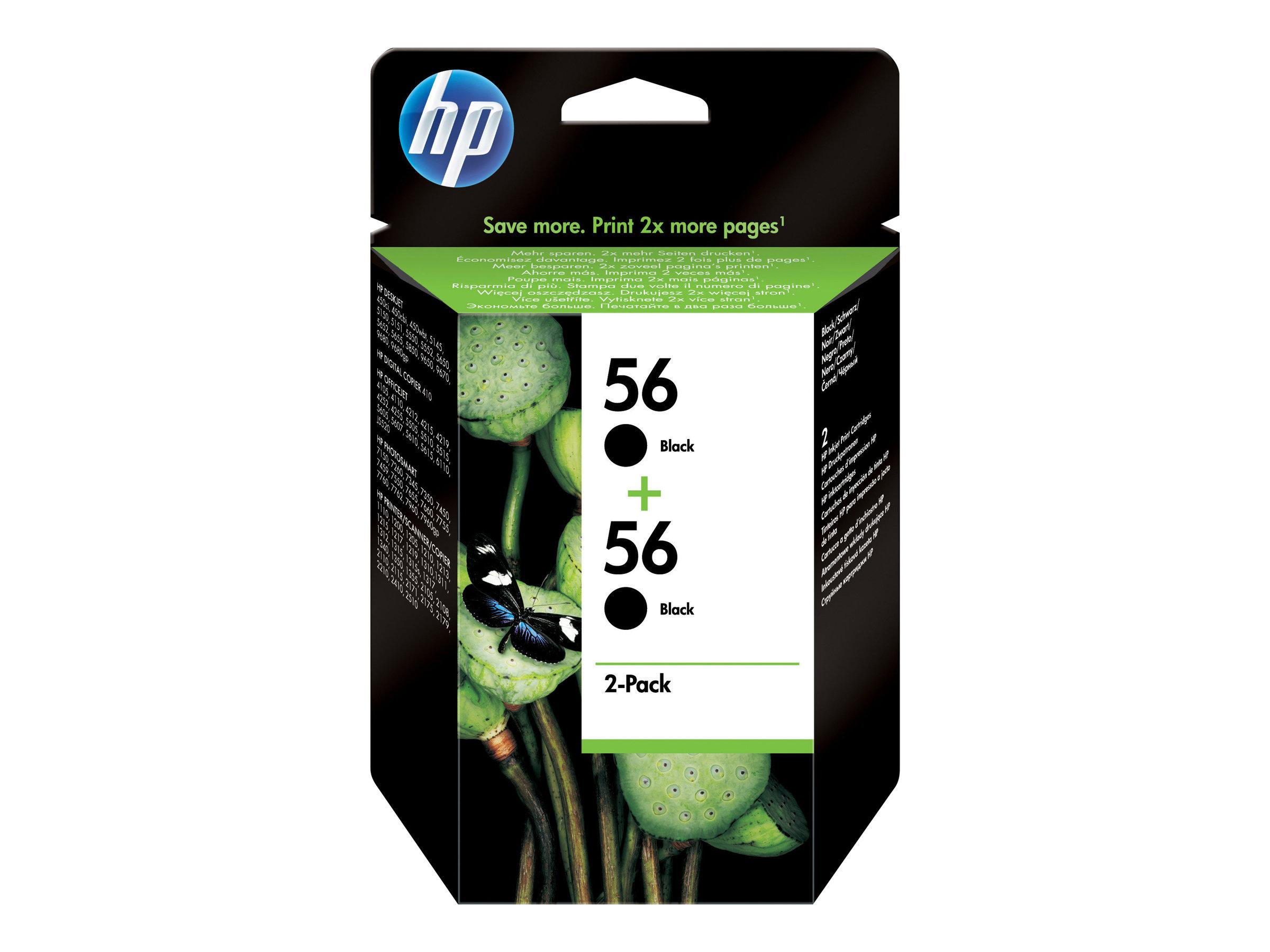 HP 56 - pack de 2 - noir - originale - cartouche d'encre