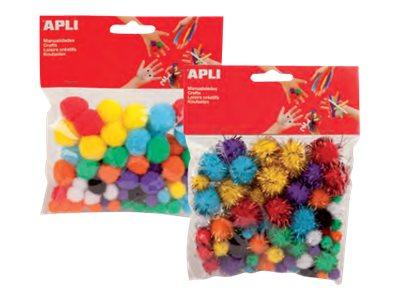 Apli - 78 Formes à décorer - modèle pompons - différentes couleurs disponibles