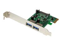 StarTech.com Carte Controleur PCI Express (PCIe) vers 2 ports USB 3.0 avec UASP - Adaptateur PCIe 2x USB 3.0 - Alimentation SATA
