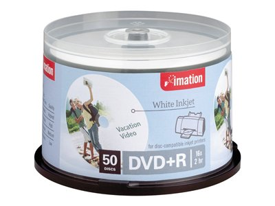 Imation 50Pk Dvd+R 4.7Gb 16X Wht Inkjet Printable