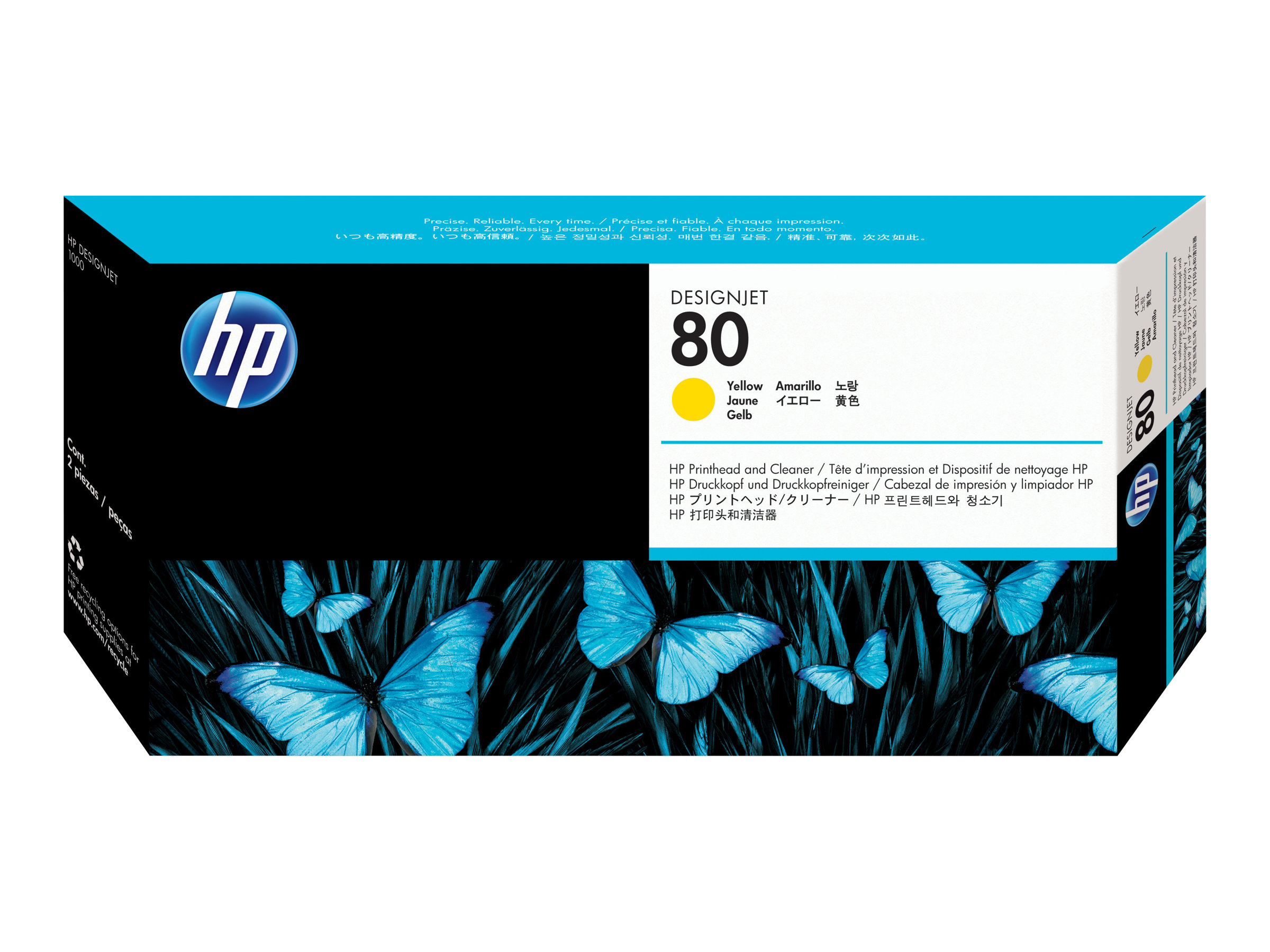 HP 80 - jaune - tête d'impression avec nettoyeur