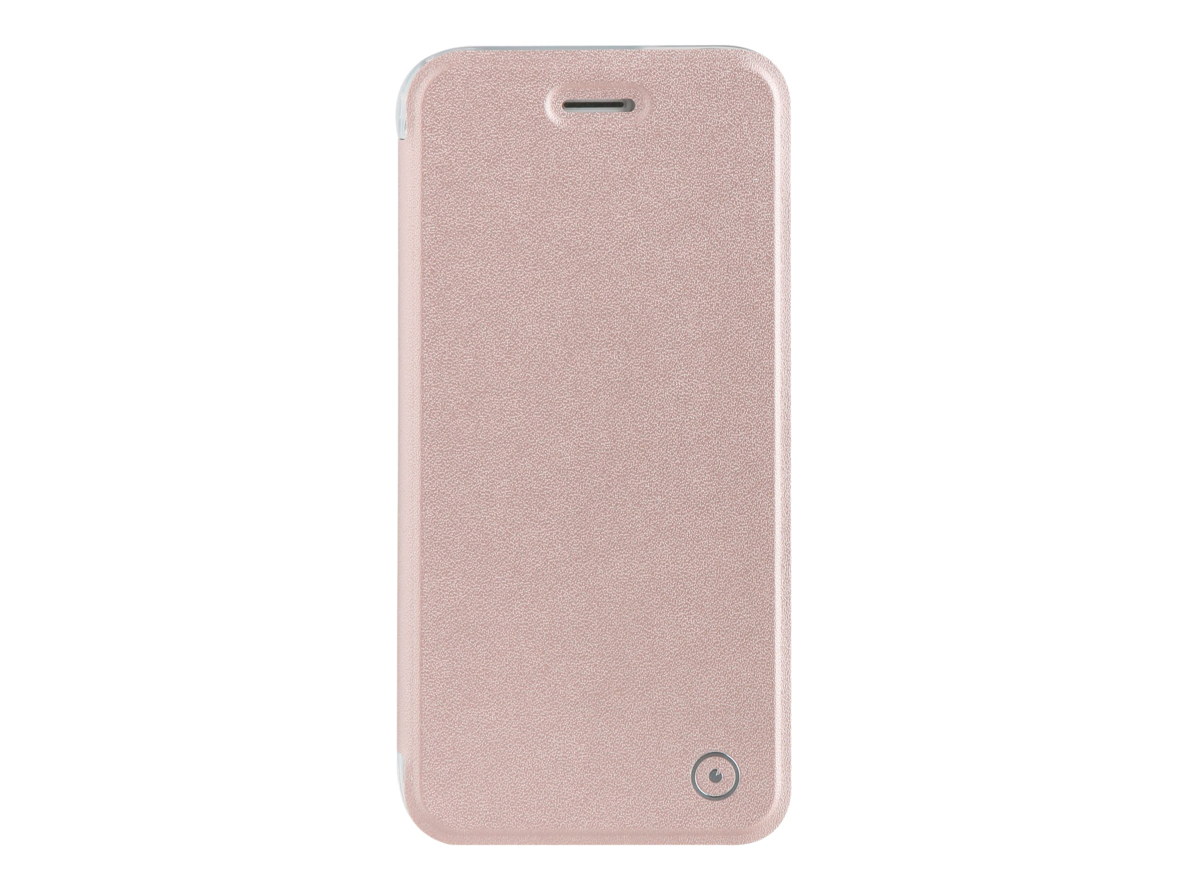 Muvit Folio - Protection à rabat pour iPhone 7 - transparent, or rose