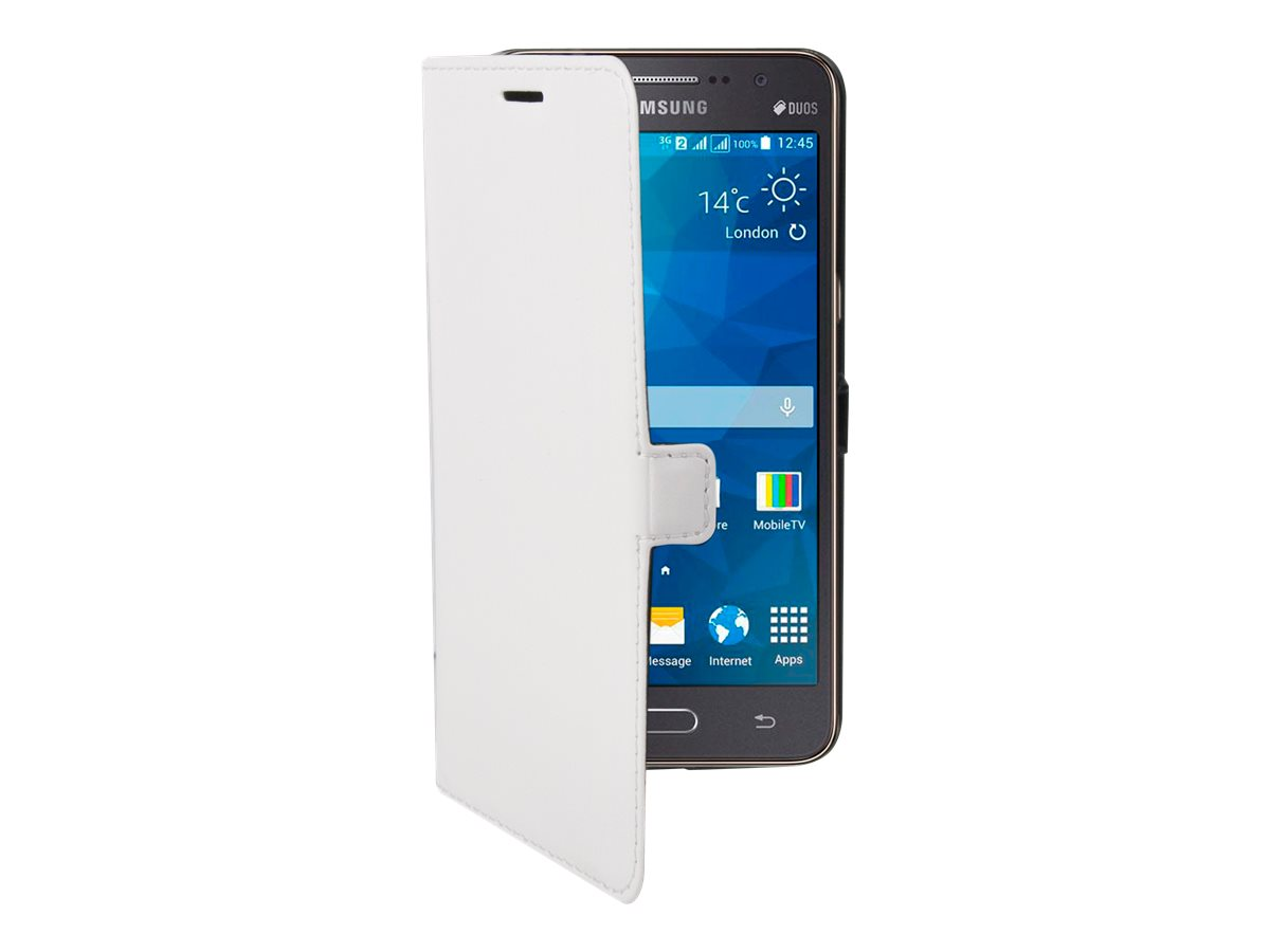 Muvit Made in Paris Slim Folio Luxe - Protection à rabat pour Samsung Galaxy Grand Prime - blanc