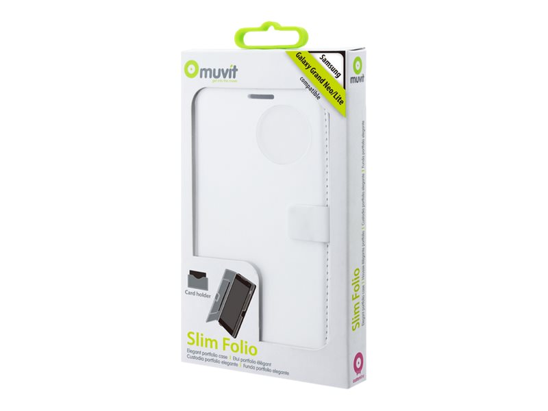 Muvit Slim Folio - Protection à rabat pour Samsung Galaxy Grand Lite, Grand Neo - blanc