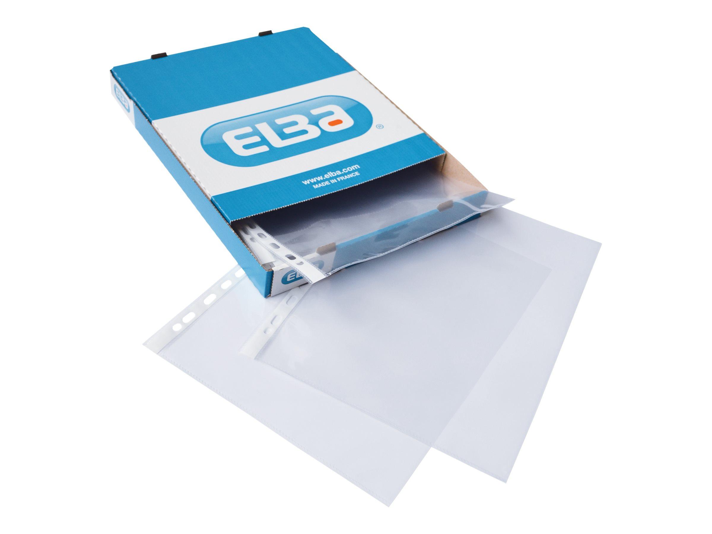ELBA - 100 Pochettes perforées ouvertures en coin - A4 - pour 30 feuilles - incolore