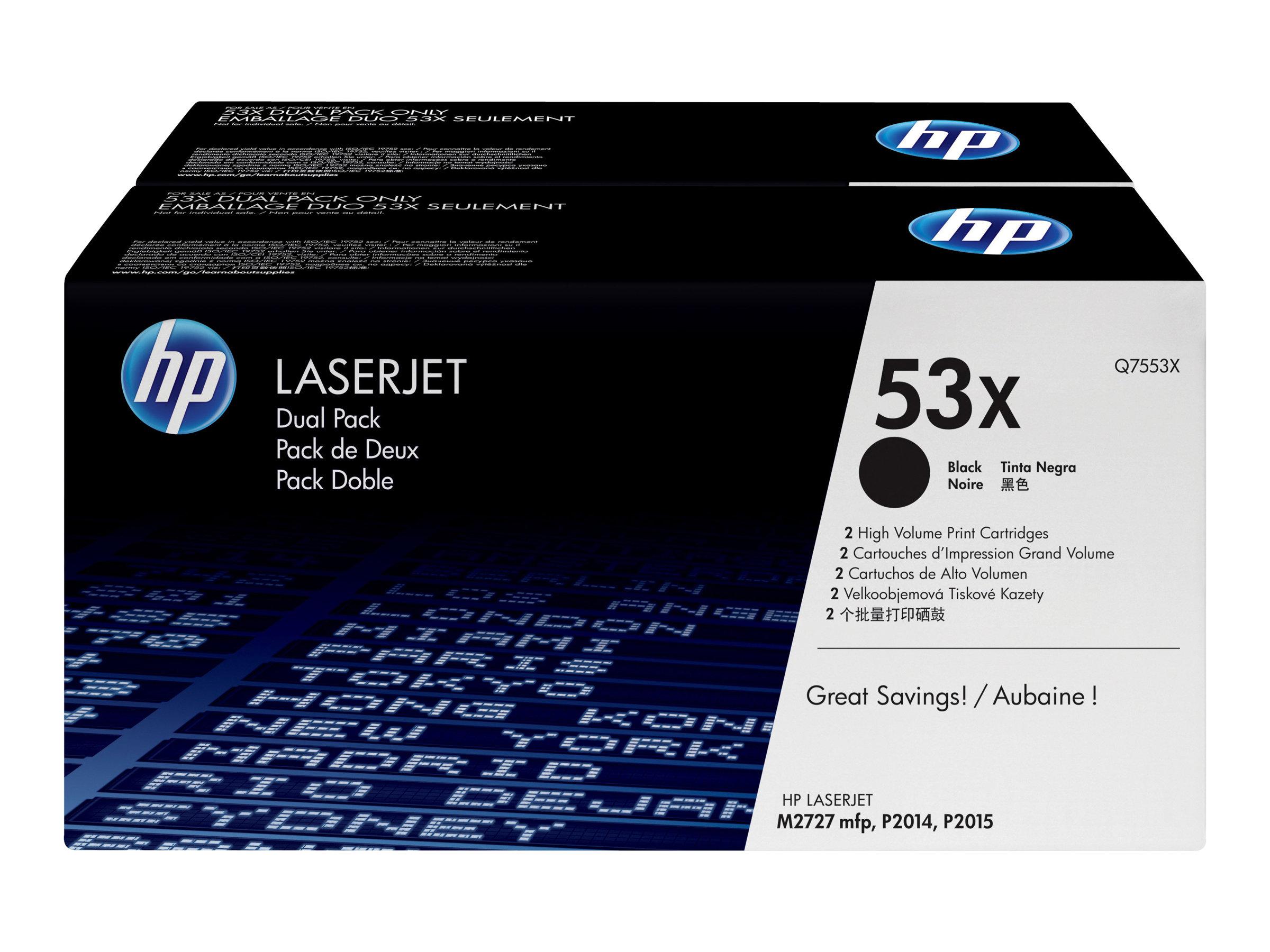 HP 53X - Pack de 2 - à rendement élevé - noire - original - toner