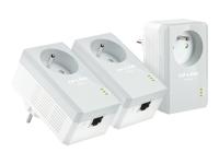 TP-LINK TL-PA4015PT KIT AV500 Powerline Adapter with AC Pass Through - kit de réseau - pont - Branchement mural