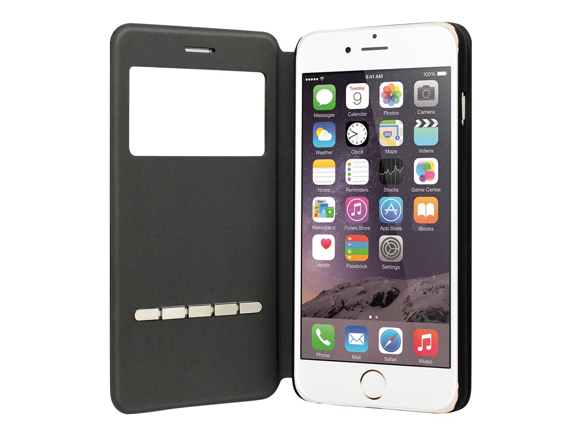 Muvit Answer Call Folio - Protection à rabat pour iPhone 6 Plus, 6s Plus - noir