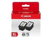 Canon PG-245 XL / CL-246 XL Value Pack - 2-pack - XL - black, color (cyan, magenta, yellow) - original - ink cartridge - for PIXMA iP2820, MG2920, MG2924, MG3020, MX492, TR4520, TS202, TS302