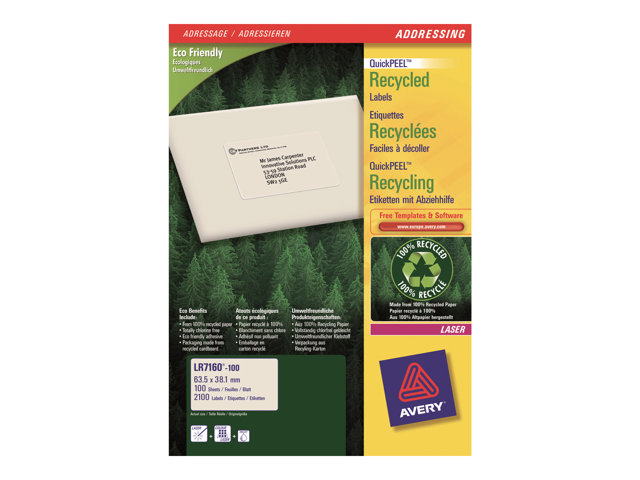 Image of Avery QuickPEEL Recycled Labels - address labels - 2100 label(s)