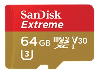 SanDisk Extreme - Flash memory card (microSDXC to SD adapter included) - 64 GB - Video Class V30 / U