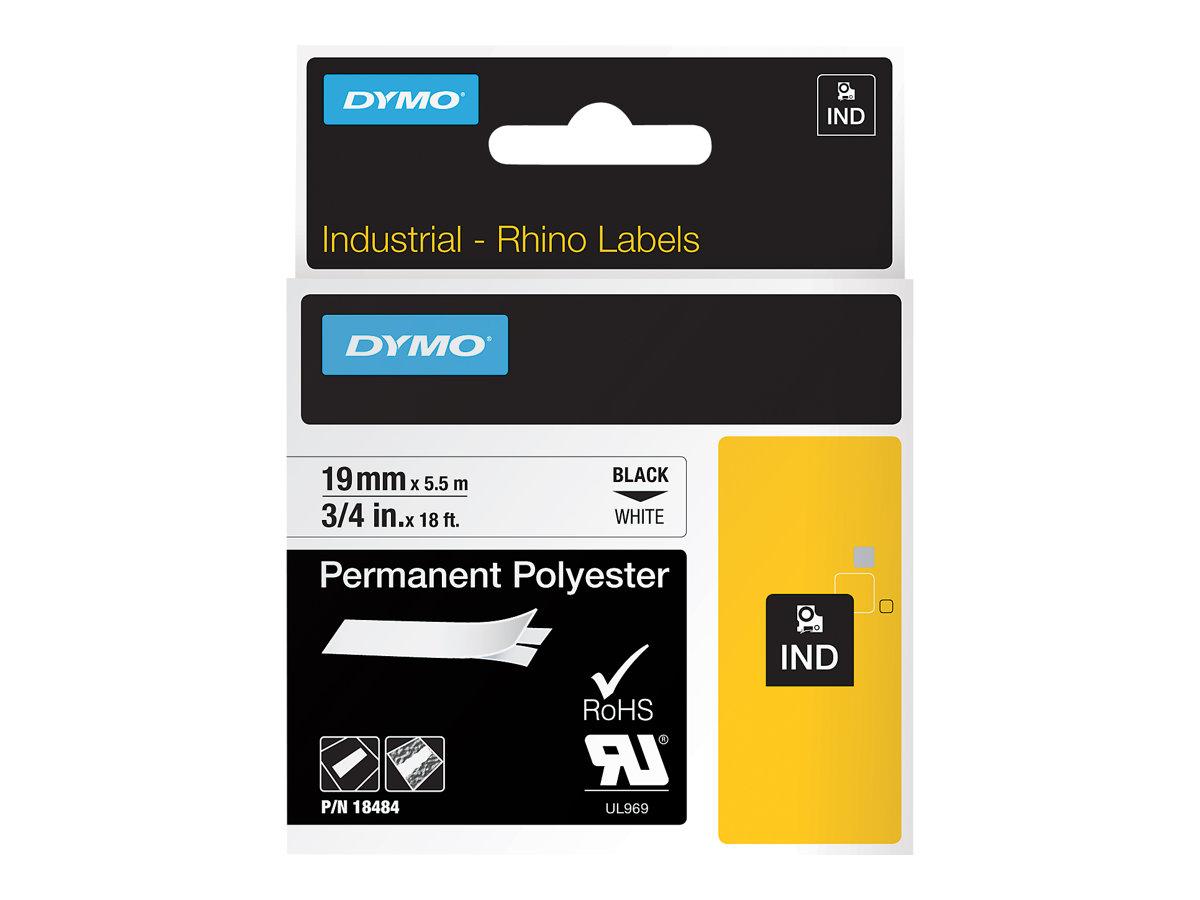 DYMO - Ruban d'étiqueteuse rhino- noir sur blanc - 19 mm x 3,5 m