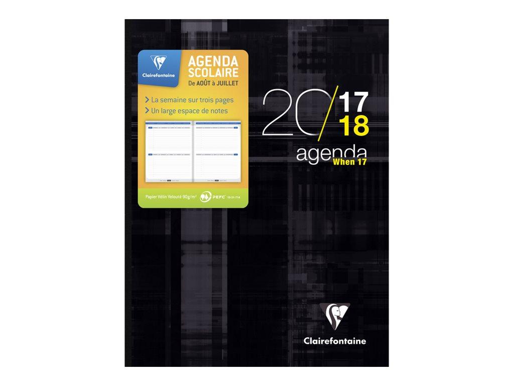 Clairefontaine When 17 - Agenda - septembre 2017 - décembre 2018 - 2 jours par page - 16 x 22 cm - coloris selon disponibilité